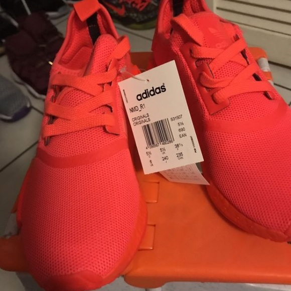 big sale 7a427 afd34 Adidas NMDs size 6 Solar red Boutique